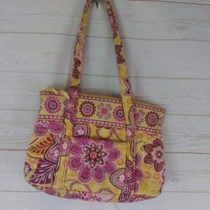 Vera Bradley Yellow and Pink Floral Purse w/ ID
